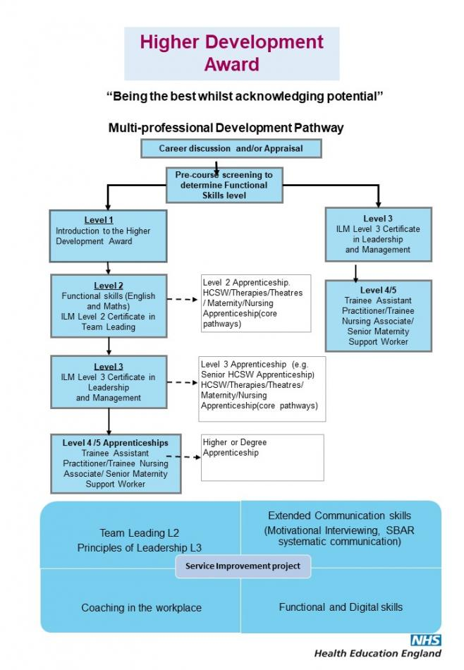 This diagram shows the Multi-professional Development Pathway, which starts with Pre course Screening, flowing down to Level 1 Introduction to the Higher Development Award, Level 3 ICM level 3 certificate in leadership and management and Level 4'5 Trainee Assistant Practitioner, Trainee Nursing Associate and Senior Maternity Support Worker. At the foot of the diagram is a box divided into four parts, Team Leader L2, Principals of leadership L3, Extended Communications Skills (Motivational Interviewing, SBAR systematic communications), Coaching in the Workplace and Functional and Digital Skills.