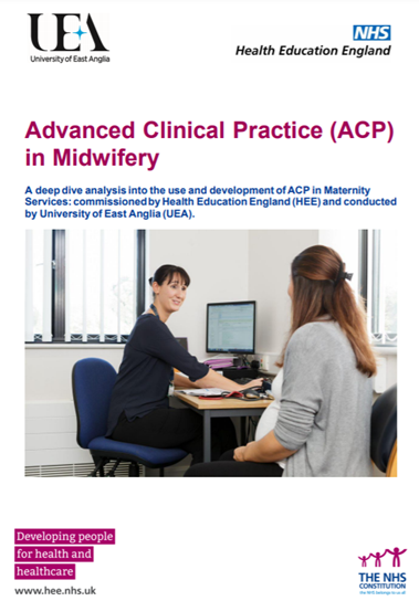 Front cover of the Advanced Clinical Practice in Midwifery Report featuring an image of a midwife sitting at a desk talking to a pregnant woman.