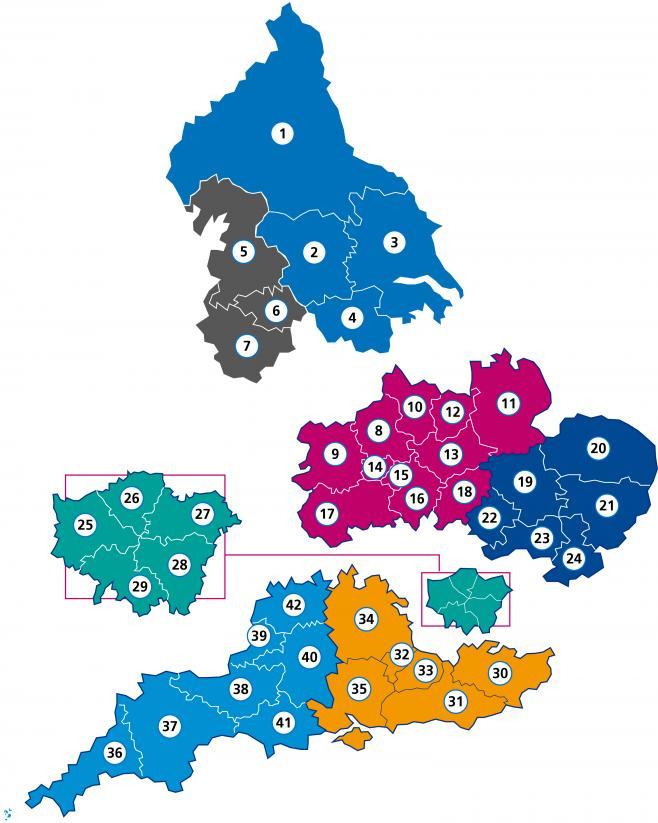 HEE regions map numbered