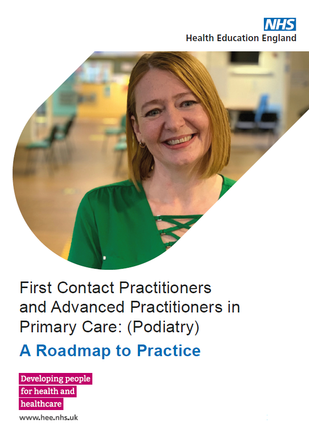 Podiatry roadmap front cover featuring a podiatrist