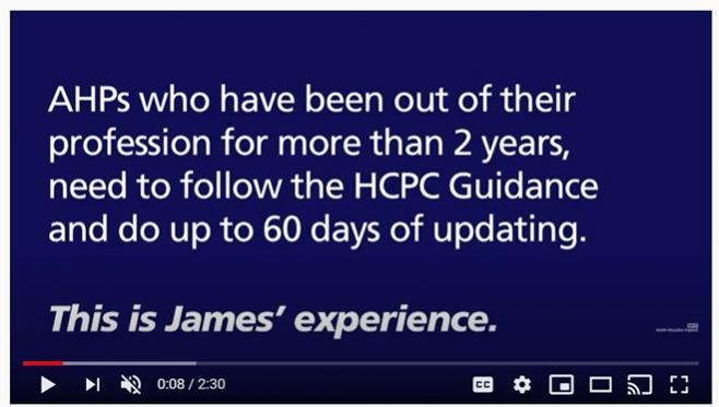 Link to YouTube video featuring returnee James
