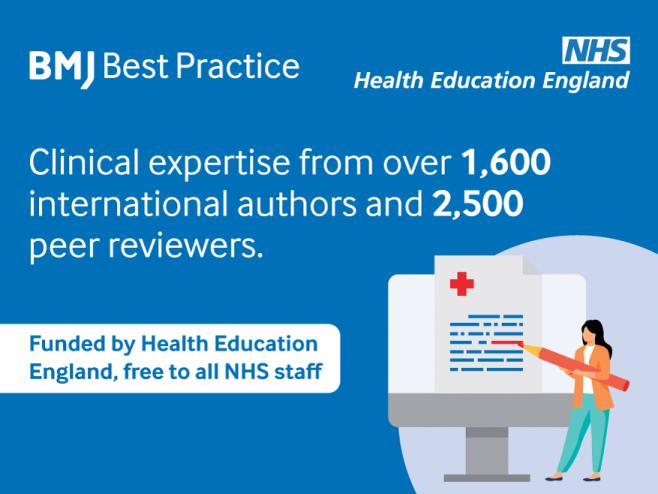 Graphic promoting BMJ Best Practice resources